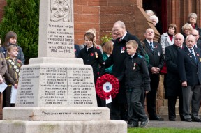 Young people remember at Crosshouse War memorial